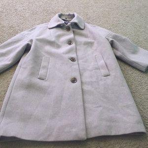 Women's Large GAP light beige wool coat 3/4 sleeve